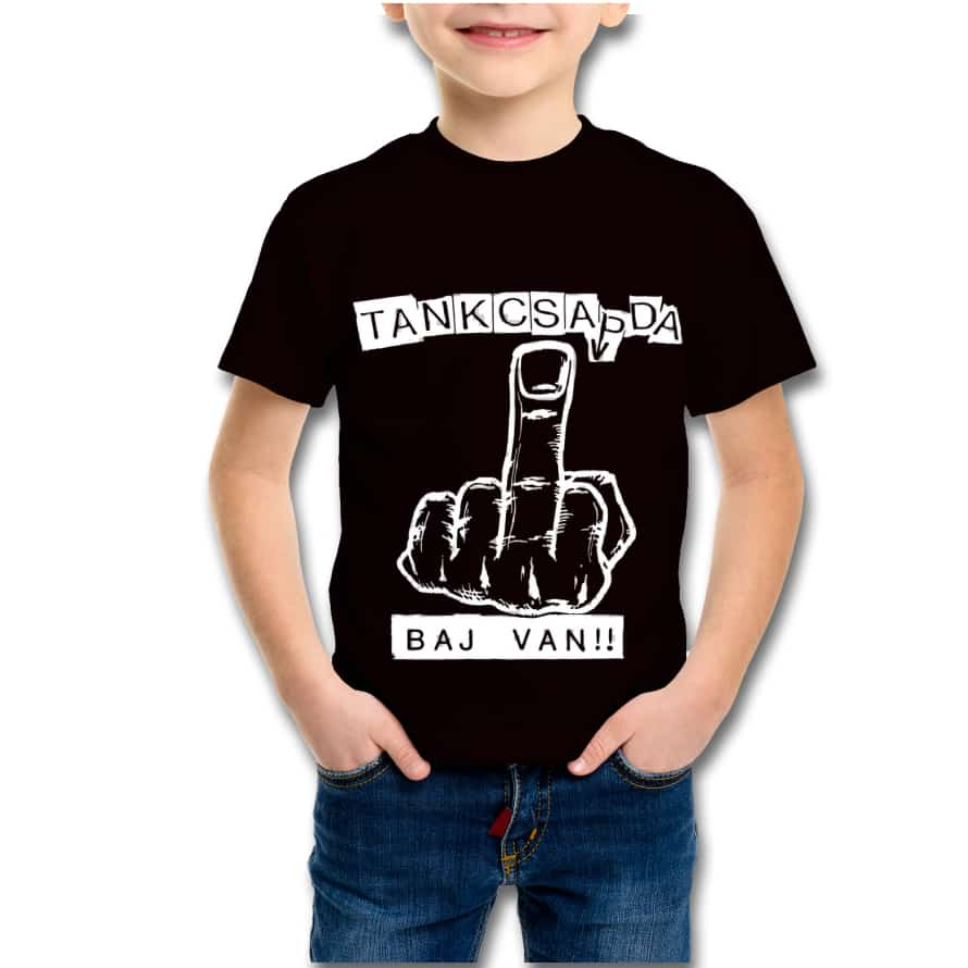 "35d8b10948 TankShop.hu - Tankcsapda Official Store | Fekete ""Baj van!!"" gyerek póló"